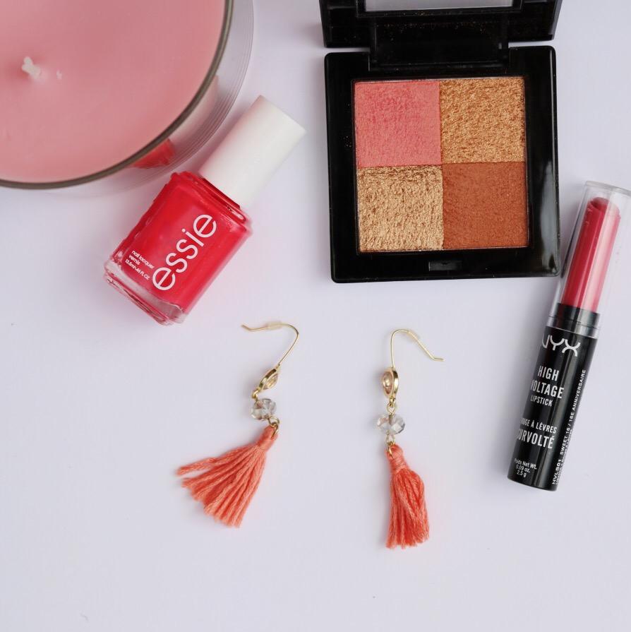 coral pink summer makeup